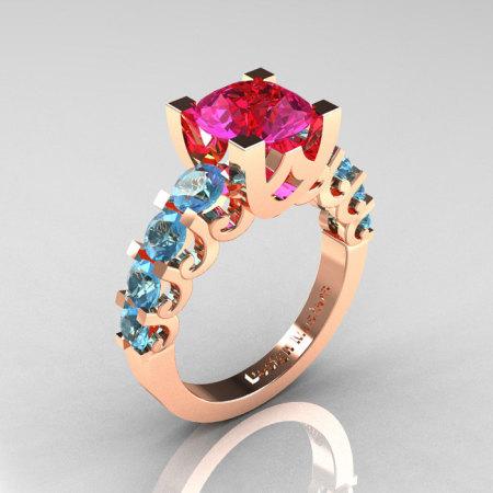 Modern Vintage 14K White Gold 3.0 Carat Pink Sapphire Designer Wedding Ring R142-14KWGBTPS-1