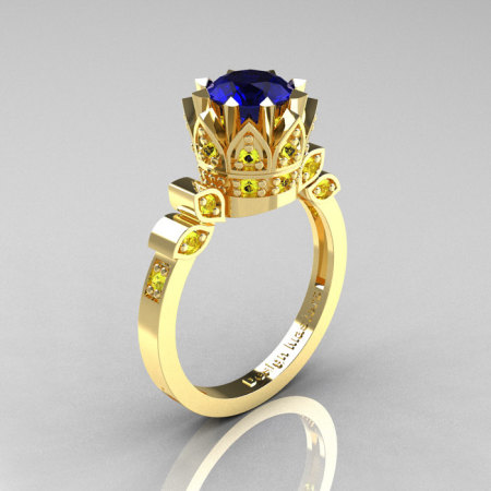 Classic Armenian 14K Yellow Gold 1.0 Blue Yellow Sapphire Bridal Solitaire Ring R405-14KYGYBS-1