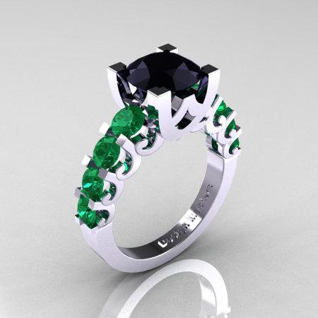 Modern Vintage 14K White Gold 3.0 Carat Black Diamond Emerald Designer Wedding Ring R142-14KWGEMBD-1