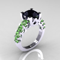 Modern Vintage 14K White Gold 3.0 Carat Black Diamond Green Topaz Designer Wedding Ring R142-14KWGGTBD-1