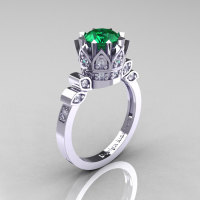 Classic Armenian 14K White Gold 1.0 Emerald Diamond Bridal Solitaire Ring R405-14KWGDEM-1