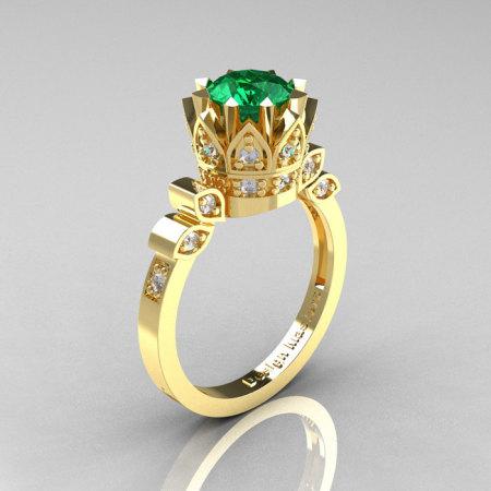 Classic Armenian 18K Yellow Gold 1.0 Emerald Diamond Bridal Solitaire Ring R405-18KYGDEM-1