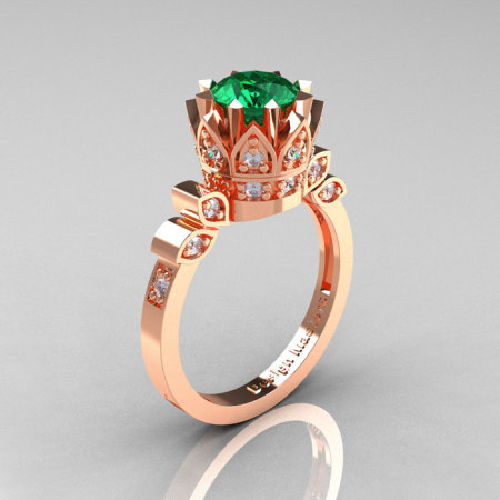 Classic Armenian 14K Rose Gold 1.0 Emerald Diamond Bridal Solitaire Ring R405-14KRGDEM-1