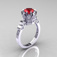 Classic Armenian 14K White Gold 1.0 Rubies Diamond Bridal Solitaire Ring R405-14KWGDR-1