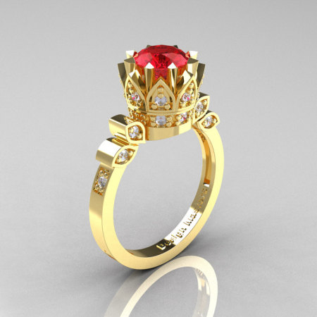 Classic Armenian 14K Yellow Gold 1.0 Rubies Diamond Bridal Solitaire Ring R405-14KYGDR-1