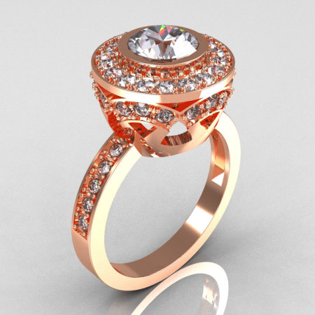 Modern Vintage 14K Rose Gold 1.0 Carat White Sapphire and White Diamond Solitaire Ring R132-14KRGDWS-1