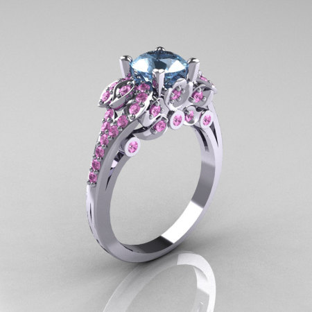 Classic 14K White Gold 1.0 CT Aquamarine Light Pink Sapphire Blazer Wedding Ring R203-14KWGLPSAQ-1