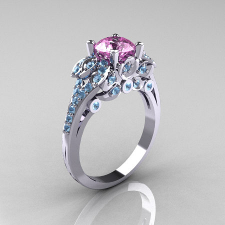 Classic 14K White Gold 1.0 CT Light Pink Sapphire Aquamarine Blazer Wedding Ring R203-14KWGAQLPS-1