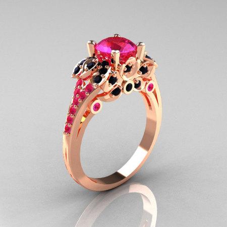Classic 14K Rose Gold 1.0 CT Pink Sapphire Black Diamond Blazer Wedding Ring R203-14KRGBDPS-1