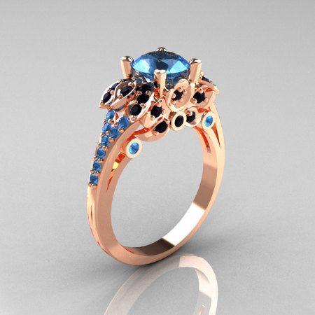 Classic 14K Rose Gold 1.0 CT Blue Topaz Black Diamond Blazer Wedding Ring R203-14KRGBDBT-1