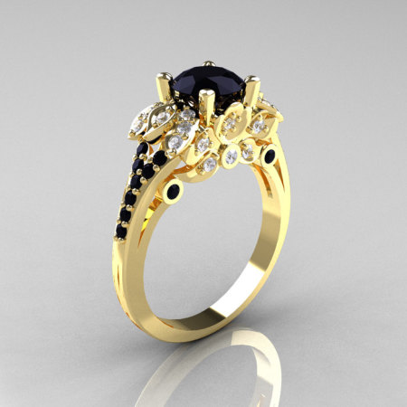 Classic 14K Yellow Gold 1.0 CT Black and White Diamond Blazer Wedding Ring R203-14KYGDBD-1
