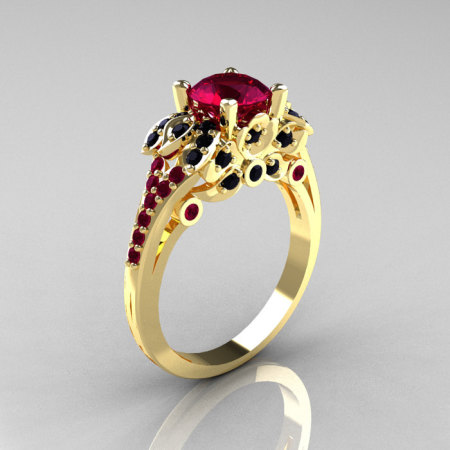 Classic 14K Yellow Gold 1.0 CT Red Garnet Black Diamond Blazer Wedding Ring R203-14KYGBDRG-1