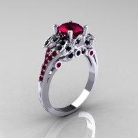 Classic 14K White Gold 1.0 CT Red Garnet Black Diamond Blazer Wedding Ring R203-14KWGBDRG-1