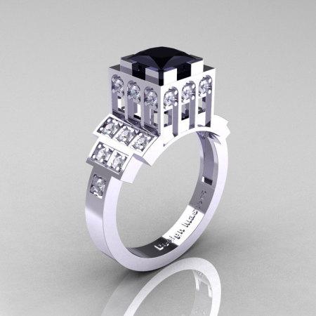 Modern Industrial 14K White Gold 1.23 CT Princess Black Diamond Bridal Ring R316-14KWGDBD-1