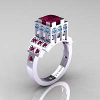 Modern Industrial 14K White Gold 1.23 CT Princess Red Garnet Blue Topaz Bridal Ring R316-14KWGBTRG-1