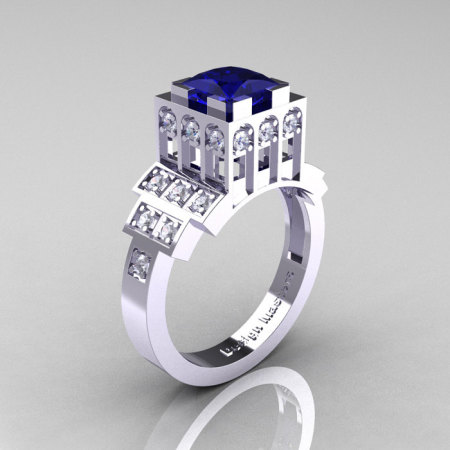 Modern Industrial 14K White Gold 1.23 CT Princess Blue Sapphire Diamond Bridal Ring R316-14KWGDBS-1