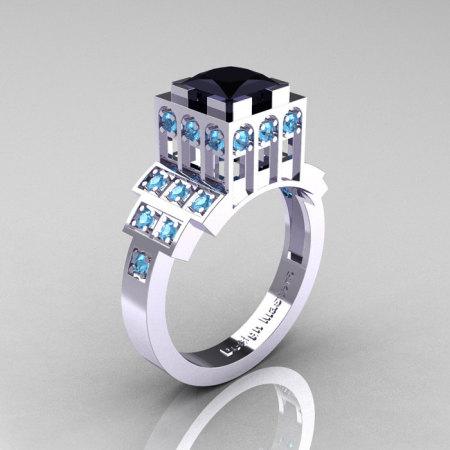 Modern Industrial 14K White Gold 1.23 CT Princess Black Diamond Blue Topaz Bridal Ring R316-14KWGBTBD-1