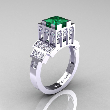 Modern Industrial 14K White Gold 1.23 CT Princess Emerald Diamond Bridal Ring R316-14KWGDEM-1