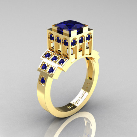 Modern Industrial 14K Yellow Gold 1.23 CT Princess Blue Sapphire Bridal Ring R316-14KYGBS-1