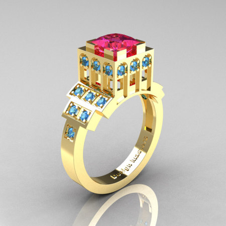 Modern Industrial 14K Yellow Gold 1.23 CT Princess Pink Sapphire Blue Topaz Bridal Ring R316-14KYGBTPS-1