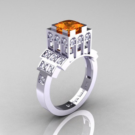 Modern Industrial 14K White Gold 1.23 CT Princess Orange Sapphire Diamond Bridal Ring R316-14KWGDOS-1