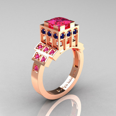Modern Industrial 14K Rose Gold 1.23 CT Princess Pink Blue Sapphire Bridal Ring R316-14KRGBPS-1