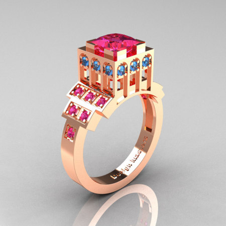 Modern Industrial 14K Rose Gold 1.23 CT Princess Pink Sapphire Blue Topaz Bridal Ring R316-14KRGBTPS-1