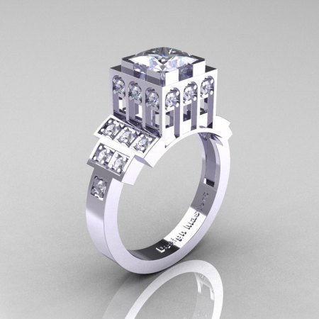 Modern Industrial 14K White Gold 1.23 CT Princess White Sapphire Diamond Bridal Ring R316-14KWGDWS-1