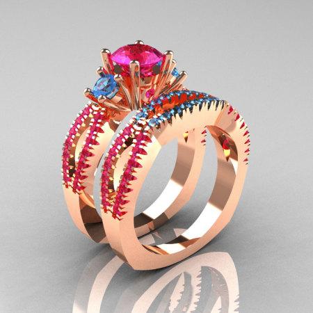 Modern French 14K Rose Gold Three Stone Pink Sapphire Blue Topaz Engagement Ring Wedding Band Set R140S-14RGBTPS-1