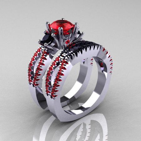 Modern French 14K White Gold Three Stone Rubies Black Diamond Engagement Ring Wedding Band Set R140S-14WGRBD-1