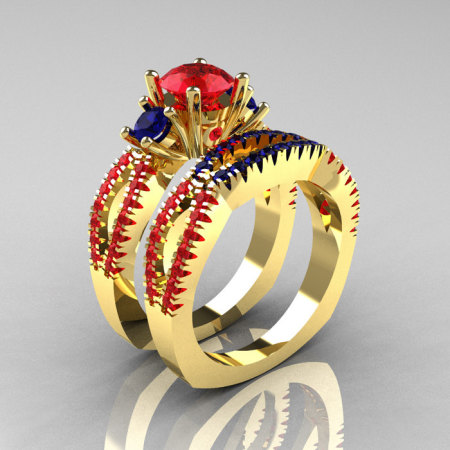 Modern French 14K Yellow Gold Three Stone Rubies Blue Sapphire Engagement Ring Wedding Band Set R140S-14KYGBSR-1