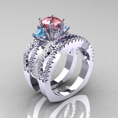 Modern French 14K White Gold Three Stone Peach and Blue Topaz Diamond Engagement Ring Wedding Band Set R140S-14KWGDBPT-1