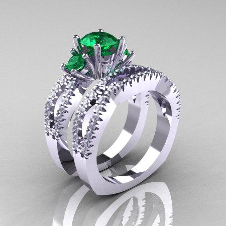 Modern French 14K White Gold Three Stone Emerald Diamond Engagement Ring Wedding Band Set R140S-14KWGDEM-1