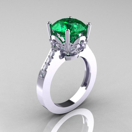 Classic 10K White Gold 3.0 Carat Emerald Diamond Solitaire Wedding Ring R301-10KWGDEM-1