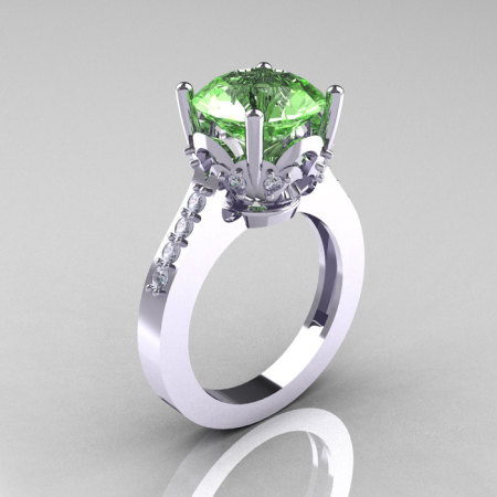 Classic 10K White Gold 3.0 Carat Green Topaz Diamond Solitaire Wedding Ring R301-10KWGDGT-1