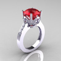Classic 10K White Gold 3.0 Carat Rubies Diamond Solitaire Wedding Ring R301-10KWGDR-1