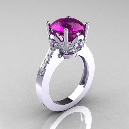 Classic 10K White Gold 3.0 Carat Amethyst Diamond Solitaire Wedding Ring R301-10KWGDAM-1