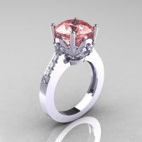 Classic 10K White Gold 3.0 Carat Peach Topaz Diamond Solitaire Wedding Ring R301-10KWGDPT-1