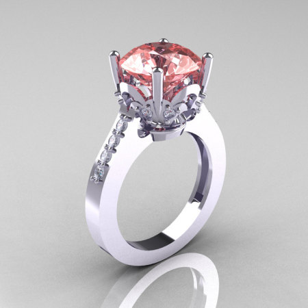Classic 10K White Gold 3.0 Carat Peach Topaz Diamond Solitaire Wedding Ring R301-10KWGDPT-1