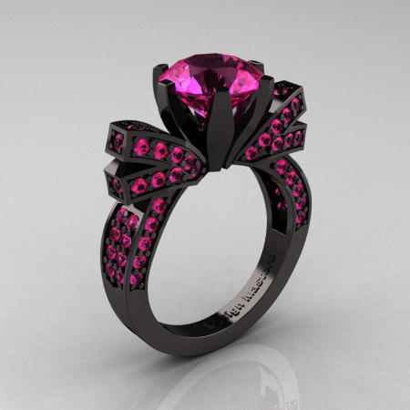French 14K Black Gold 3.0 CT Pink Sapphire Engagement Ring Wedding Ring R382-14KBGPSS-1
