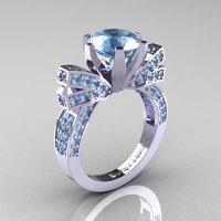 French 14K White Gold 3.0 CT Aquamarine Engagement Ring Wedding Ring R382-14KWGAQ-1