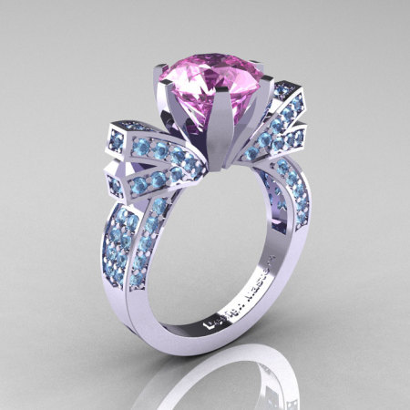 French 14K White Gold 3.0 CT Light Pink Sapphire Aquamarine Engagement Ring Wedding Ring R382-14KWGAQLPS-1