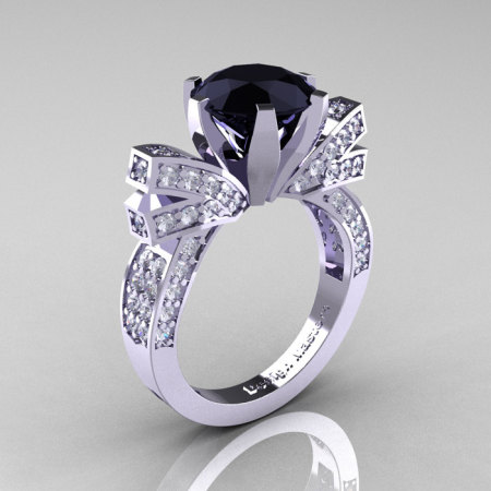 French 14K White Gold 3.0 CT Black Diamond Engagement Ring Wedding Ring R382-14KWGDBD-1