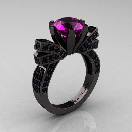 French 14K Black Gold 3.0 CT Amethyst Black Damond Engagement Ring Wedding Ring R382-14KBGBDAM-1
