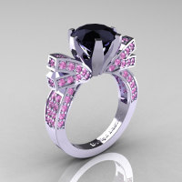 French 14K White Gold 3.0 CT Black Diamond Light Pink Sapphire Engagement Ring Wedding Ring R382-14KWGLPSBD-1