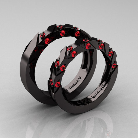 Modern Italian 14K Black Gold Rubies Wedding Band Set R310BS-14KBGR-1