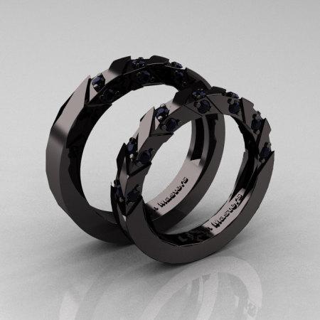 Modern Italian 14K Black Gold Black Diamond Wedding Band Set R310BS-14KBGBD-1