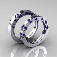 Modern Italian 14K White Gold Blue Sapphire Wedding Band Set R310BS-14KWGBS-1