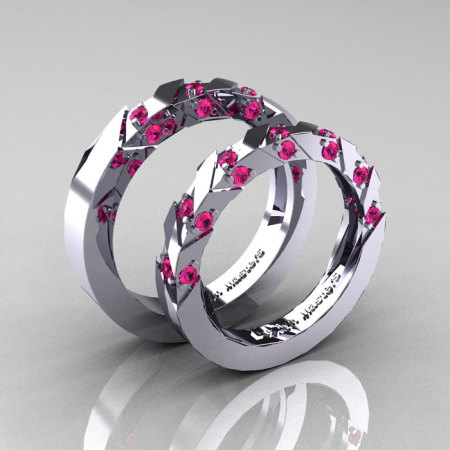 Modern Italian 14K White Gold Pink Sapphire Wedding Band Set R310BS-14KWGPS-1