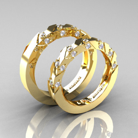 Modern Italian 14K Yellow Gold Diamond Wedding Band Set R310BS-14KYGD-1